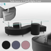 BUT Table basse et 2 poufs Alpha 2 noir