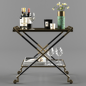 Bar cart with accessories