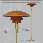 Floor lamp Louis Poulsen PH 3_2 Floor Lamp Gold Amber Glass
