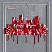 Chandelier AXO Light Spillray SP lamps 30 red glass