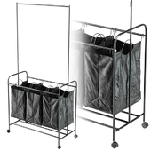 Black 3 Bag Heavy Duty Divided Laundry Hamper Sorter Cart with Wheels and Hanging Bar