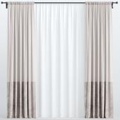 Brown velvet curtains from tulle