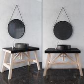 Black and wood Rustic Bathroom Furniture