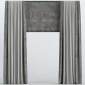 Brown velvet roman curtains