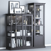 Ikea MALSJÖ Glass-door cabinets, black stained black stained.