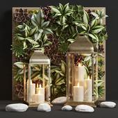 Decorative set of lights Pottery Barn CHESTER BRUSHED BRASS LANTERN