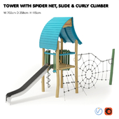 """KOMPAN. """"TOWER WITH SPIDER NET, SLIDE & CURLY CLIMBER"""""""