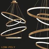 LED Swirl Four Ring Chandelier