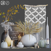 Autumn decorative set with wheat