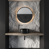 Bathroom Furniture Gray Rock Wall