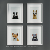 Baby Animal Prints by Jenny Kun. Size: 600x480mm.
