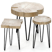 Set of coffee tables made of slab.