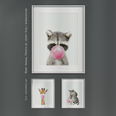 Baby Animal Prints by Jenny Kun / Bubblegum. Size: 830x650mm.