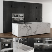 Kitchen black wood and Marble island