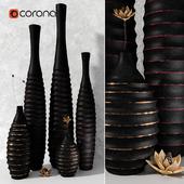Black decor vases set