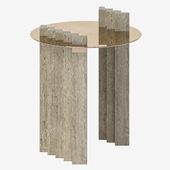 Side Table Travertine and Brass