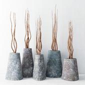 Ветки в бетонных вазах / Branch concrete vase