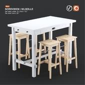 Ikea NORDVIKEN bar table and NILSOLLE bar stool, white and birch