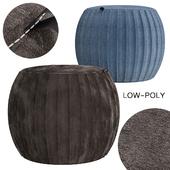Velvet Pleated Round Pouf Ottoman