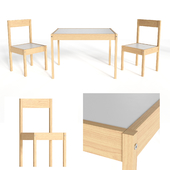 Children's table and 2 chairs IKEA LÄTT
