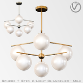 Sphere + Stem 6-Light Chandelier - Milk