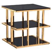 Столик журнальный с черным стеклом (золотой) 46AS-ET4752-GOLD Garda Decor