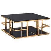 Стол журнальный с черным стеклом (золотой) 46AS-CT4426-GOLD Garda Decor