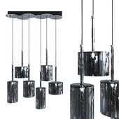 Pendant lamp AXO Light Spillray SP lamps 6 black glass