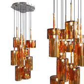 Pendant lamp AXO Light Spillray SP lamps 12 orange glass