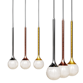 Pendant lamp Bullarum SS-1 gold, chrome and copper body clear glass shade