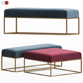 Westelm Box Frame Upholstered Bench & Ottoman