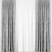 Серые шторы с тюлем