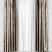 Коричневые шторы с узором в двух цветах