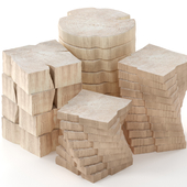 Wooden tables made of slab.