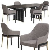 Opera contemporary Oliver table and Stacy armchair set