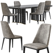 Opera contemporary oliver table and hilary armchair set
