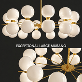 Exceptional Large Murano Glass and Brass Chandelier