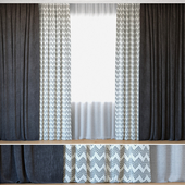 Curtains 39   Curtains with Tulle   Reilly Gray Chevron and Ovington Gray