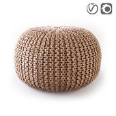 Пуф круглый из плетеного джута BISHO