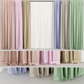 A series of bright curtains.