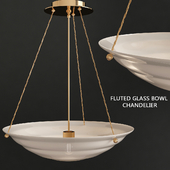 Willamette 24 Aged White Fluted Glass Bowl Chandelier