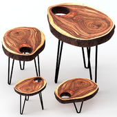 Wooden slab coffee tables.