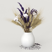 Dried flowers of cotton, rye and lavender
