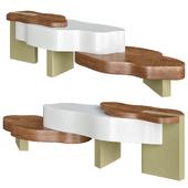 Lacquered wood veneer coffee table