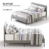 Ikea SLATTUM Upholstered bed frame, Knisa light gray.