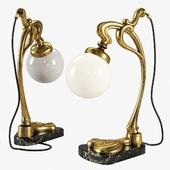 Vintage Gilt Bronze Art Nouveau Desk Lamp