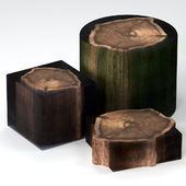 Coffee tables made of stumps and epoxy.