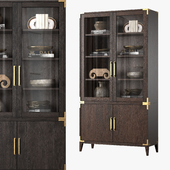 CAYDEN CAMPAIGN GLASS DOUBLE-DOOR SIDEBOARD & HUTCH (dark)