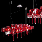 Chandelier AXO Light Spillray SP lamps 26 red glass