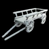 Wooden cart with snow 01